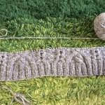 「リッチモア ベストアイズコレクション117」から編みたい作品と。ひっそりと編み始めたヘチマ襟のバラエティーアランジャケット。