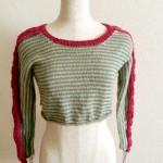 「Japan sleeves」は衿を先に編みまして。。