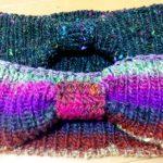 リブ編みリボンヘアターバンを編みました♫