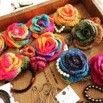 ソックヤーンで薔薇を編む。